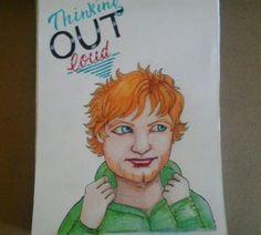 Ed Sheeran Ilustração manual pintada a lápis de cor aquarelável e canetas stabilo. #illustration #EdSheeran  #Music #ColorPencil
