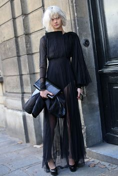 Paired with a black YSL clutch & black heels, this colourless yet head-turning outfit was photographed in Paris.
