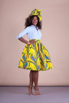 African print Relaxed yet sophisticated and universally flattering – just look how it nips in the waist – a full, high waisted skirt is an instant game-changer with two side pockets and approximately waist band. African American Fashion, African Fashion Ankara, African Inspired Fashion, African Print Fashion, African Wear, African Attire, Nigerian Fashion, Ghanaian Fashion, Nigerian Clothing