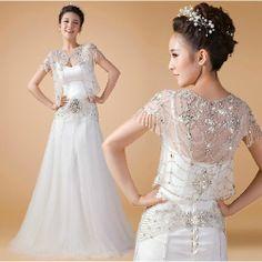 Couture White Bejeweled Modern Spaghetti Wedding Bridal Shrug Dress SKU-118333
