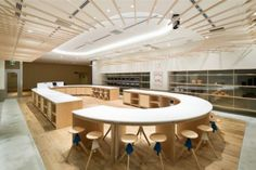 ABC Cooking Studio is a minimalist interior located in Tokyo, Japan, designed by Sinato
