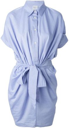 Blue cotton 'Evar' shirt dress from Sara Roka featuring a classic collar, a front button fastening, short sleeves, cut out details, a tie fastening and a straight skirt. Brand: Retailer: Farfetch Similar Item Here  Price : 325.83$