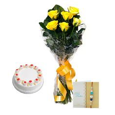 Check out our New Product  Rakhi Spectacular No Flower COD 6 Yellow Roses, Pineapple Cake 500gm and Rakhi with roli chawal.  Rs.1,049