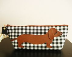 BBQ the Dachshund Black White Gingham Check Cotton Canvas Case with Vinyl Applique. $28.00, by Cuore via Etsy.