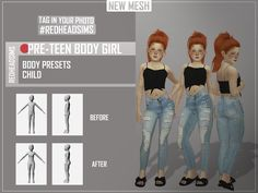 """sims 4 cc custom content mods // PRE-TEEN BODY PRESETS // you find this pre-definition of body in the category """"ears"""", not to interfere in the use of body height presets. Mods Sims 4, Sims 4 Body Mods, Sims 4 Game Mods, Sims 4 Cc Kids Clothing, Sims 4 Mods Clothes, Teen Clothing, The Sims 4 Bebes, The Sims 4 Skin, Sims 4 Traits"""