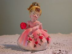 Vintage Josef Originals Valentine Figurine, Girl in Pink Dress Holding a Pair of Hearts, February Birthday or Valentines Collectable