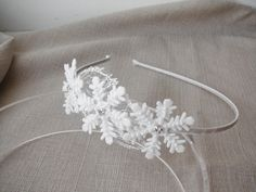 Snowflake headband white Girl hair accessory Winter weddings Christmas head piece - pinned by pin4etsy.com