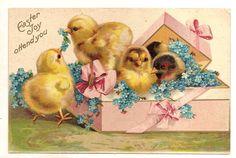 pink  vintage eggs postcards | vintage postcard Easter Joy Attend You Chicks in Gift Box Flowers ...