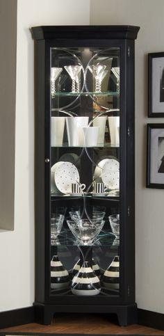 Pulaski Oxford Black Corner Curio Cabinet