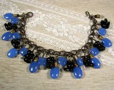 Charm Bracelet with Blue Quartz and Smoky Quartz Dangles by Cindy Cima Edwards