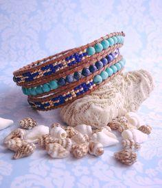 Blue Mozaic Wrap Braclet | Boho Style | Leather Wrap Bracelet | www.dacostajewelry.com