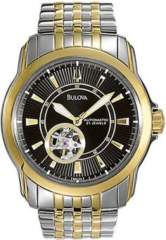 Bulova Men's Watch St.Steel Automatic Skeleton Two Tone 21 Jewels