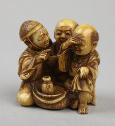 Netsuke: Three men drinking. Japanese seal of Shōgyoku, n.d. Japan Princeton…