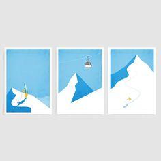 Ski art gallery wall / Vintage ski poster set of 3 prints / Ski decor travel prints / Snowboard mountain art / Minimal home decor gift ideas Ski Vintage, Vintage Ski Posters, Décor Ski, Travel Gallery Wall, Ski Decor, Wall Decor, Art Gallery, Mountain Art, Mountain Biking