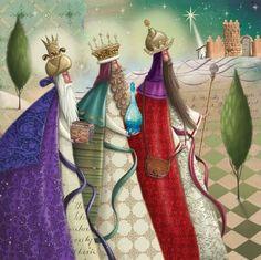 The Three Wisemen - Reuben McHugh Christmas Nativity Scene, Christmas Pictures, Christmas Art, Vintage Christmas, Christmas Scenes, We Three Kings, Peacock Painting, Three Wise Men, Christmas Drawing