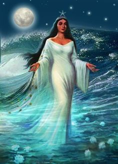 Iemanja's themes are foresight, divination and psychic abilities.  Her symbol is water.  In Brazil, Iemanja is considered the ocean's spirit. Every drop of saltwater bears Her imprint and calls us back to Iemanja, our ancient mother and home. As a water elemental, Iemanja gives Her followers vision, inspiration and the ability to flow smoothly through life's torrential times.