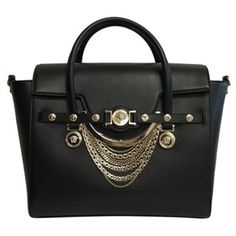 Pre-Owned Versace Medusa Chain Leather Tote Black Satchel ($1,840) ❤ liked on Polyvore featuring bags, handbags, black, satchel handbags, studded purse, tote purses, leather tote purse and versace handbags