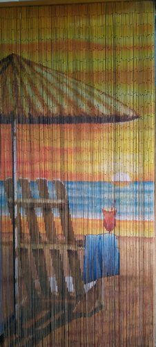 """Beach View Beaded Curtain 125 Strands (+hanging hardware) by ABeadedCurtain. $55.19. Each bamboo curtain is 36"""" x 79"""" with 125 strands attached to a wooden hanging bar. Curtain contains approx. 4000 individually hand painted bamboo beads.. Each bead is completely painted so the image is viewable from both sides at any angle.. Truly a piece of hand painted artwork. Fits most doorways and windows. Also looks wonderful when hung on walls as beaded wall art.. Bamboo beaded curtain a..."""