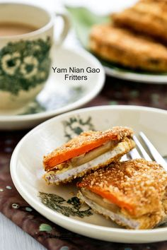 Yam Nian Gao Fritters - a Chinese New Year crispy treat of new year cake sandwiched between slices of taro (a.a yam) and sweet potatoes dipped in batter. Gf Recipes, Side Dish Recipes, Asian Recipes, Asian Foods, Chinese Recipes, Snack Recipes, Cooking Recipes, Snacks, Sweets Recipes