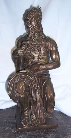 Sculpture: ($45) Vintage Moses By Michelangelo Statue Ceramic Figure Signed 65 Austin Productions