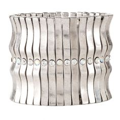 Avant Garde Paris - Handmade Pewter stretch bracelet (one size fits all) measures 2 1/2 inches wide. Each 32 pewter wavy links is accented in the middle with a 4 mm. sparkling Swarovski Crystal. Available at www.shopbluehorse.com