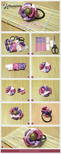 How to Make Layered Ribbon Flower Elastic Hair Ties in a Simple Way