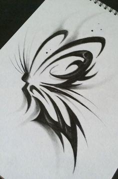 tribal butterfly tattoo by jkart1 watch traditional art body art body ...