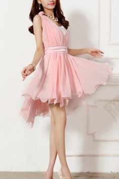 Sleeveless Dress with Flounced Hem OASAP.com