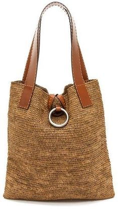 crochet - Michael Kors Collection Janey Ring XL Tote - Apocalypse Now And Then Crochet Handbags, Crochet Purses, Crochet Bags, Free Crochet, Bag Women, Straw Tote, Michael Kors Collection, Knitted Bags, Tote Purse