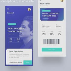 Wireframing and paper prototyping tools at or link in bio. from - Event ticketing app 🎫🎫 . Ios App Design, Mobile App Design, Web Design, Mobile App Ui, Layout Design, Logo Design, Graphic Design, Ticket Concert, Event App