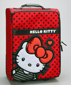 Another great find on #zulily! Red & Black Polka Dot Hello Kitty Suitcase #zulilyfinds