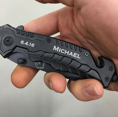 Your Groomsmen, Ushers, and Dad Will Love Our Personalized Falcon Knife! We Can Engrave a Name or Monogram on the Handle as Shown in the Picture. Our Knife Has an Integrated Glass Breaker on it Along with a Seat Belt Cutter and Pocket Clip on the Back. Engraving on the Front Side is Free with this Item – Your Knife will be Engraved by Our Laser Creating Permanent Text That Requires No Maintenance!