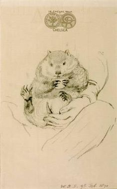 """Rossetti's Wombat Seated in his Master's Lap William Bell Scott 1871 From """"Rossetti's Wombat: A Pre-Raphaelite Obsession in Victorian England"""" """"In the Rossetti often took his friends to visit. Christina Rossetti, Edward Burne Jones, Dante Gabriel Rossetti, Pre Raphaelite, Art Database, Wombat, African Elephant, Exotic Pets, Exotic Animals"""