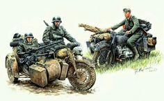 Pinturas motos con sidecar de la II WW - Buscar con Google