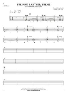 The Pink Panther Theme - Henry Mancini And His Orchestra. From album The Pink Panther (1963). Part: Tablature (rhythm values) for guitar - guitar 2 part