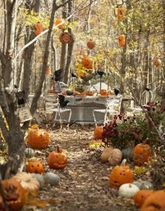 decoracion mesa exterior halloween