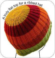 How to make a flat top on a ribbed hat.