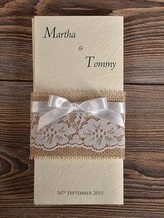 Natural Burlap  Wedding Invitation, Country Style Wedding Invitations, Lace  Rustic  Invitation Card on Etsy, $6.21 CAD