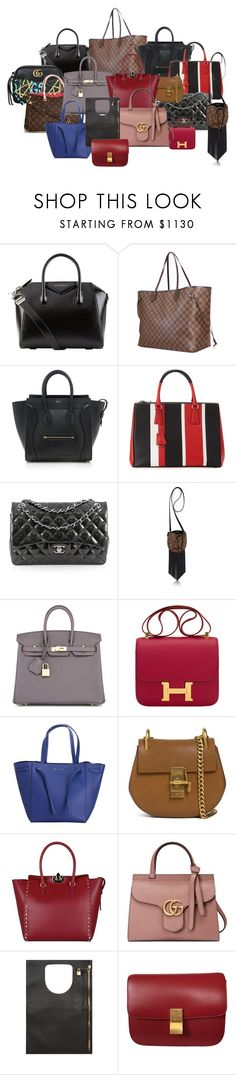 """""""Bag we sell"""" by luxurycitizen on Polyvore featuring Givenchy, Louis Vuitton, Gucci, CÉLINE, Prada, Chanel, Nöe, Hermès, Chloé and Valentino"""