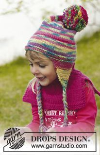 """Knitted DROPS hat and neck warmer in """"Big Fabel"""". ~ DROPS Design"""