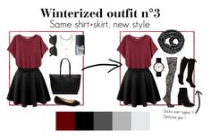 Winterized outfit n°3 by andreanne-gagne on Polyvore | The printed tights and scarf add a little fun to this simple look. Don't be afraid to mix the patterns !