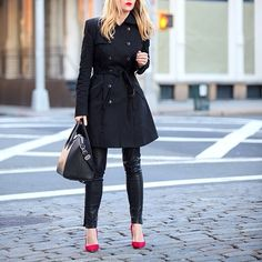 pop of red Brooklyn Blonde, Red Flats, Ootd, My Style, How To Wear, Jackets, Closet, Instagram, Fashion