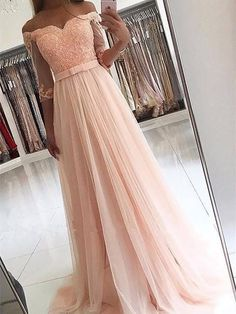 A-Line Off-the-Shoulder Tulle Long Dresses With Sash DPB150 #promdress #promdresses #longpromdress #longpromdresses