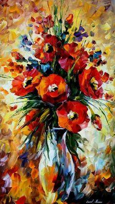 Картинки по запросу leonid afremov red flowers
