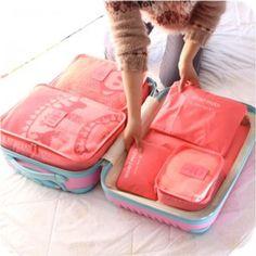 Grupos de 6 unids embalaje viajes organizador de los bolsos empaque de malla cubos de hombres mujeres bolso del lavadero del almacenaje de la bolsa de equipaje interior Bag in Bag
