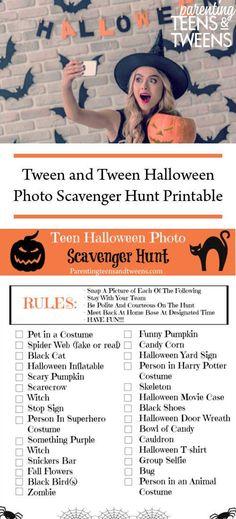 Tween and Tween Halloween Photo Scavenger Hunt Printable. #Halloween #Printable #PrintableScavengerHunt #ScavengerHunt #Teens #Tweens #Holidays #Kids #Parenting #HalloweenScavengerHunt #PhotoScavengerHunt #TeenScavengerHunt #TeenHalloween