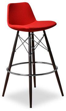 Para Mdb Barstool Set Of 2 Red Fabric Modern Bar Stools