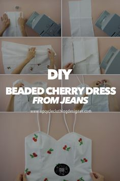 Diy Clothing, Sewing Clothes, Dress Sewing, Cherry Dress, Old Jeans, Shoulder Straps, Diy Fashion, Diy And Crafts, Diy Stuff