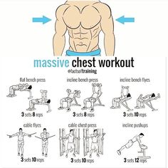 Combine this workout with the ultimate bulking routine for massive chest growth, check out the best and most powerful bulking stack with 6 legal steroids Pec Workouts, Weight Training Workouts, Muscle Building Workouts, Triceps Workout, Chest Workouts, Fitness Exercises, Gym Workout Chart, Gym Workout Tips, Cycling Workout