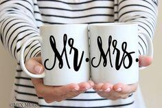 Mr and Mrs Mugs Couples Mug Set Mr and Mrs Gift Mug Set by MixMugs